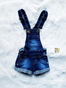 Macacão Jardineira Jeans Short Bebê Menina Linda 1 Ao 16
