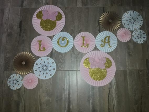 Rosetas De Papel Minnie Mouse Rosa Y Dorado/ Glitters X 14u