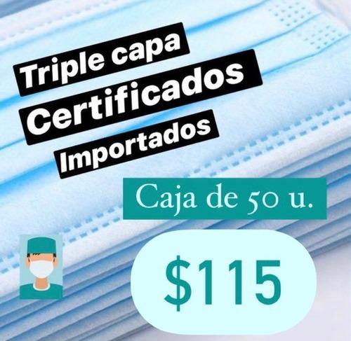 Tapabocas Quirúrgicos 3 Filtros Certificado X 50 Unidades.