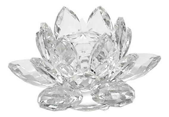 Flor De Lótus De Cristal Transparente 14cm Decoração Oferta!