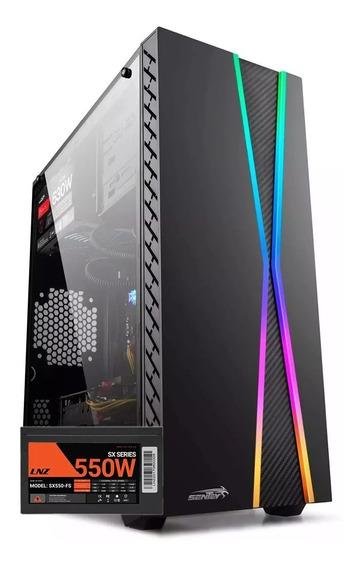 Gabinete Pc Gamer Sentey X10 Rgb Usb 3.0 + Fuente Lnz 550w