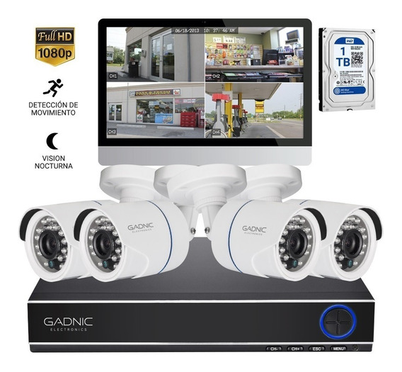 Kit 4 Camaras Seguridad Ip Hd Cctv Dvr Hdmi Disco Rigido 1tb