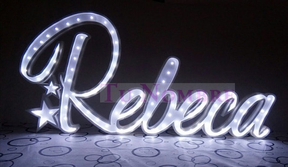 Nombre Iluminado 6 Letras 25 Cm Polyfan Cartel Luz Tunombre
