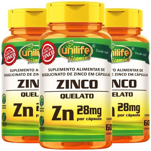 Imagem 1 de 3 de 3x Zinco Quelato Zn 60 Cáps Unilife - Cápsulas Vegetarianas