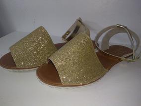 Sandália Rasteirinha Dourada Com Brilhos
