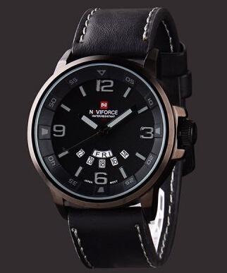 Relógio Naviforce 9028 Pulseira De Couro Frete Grátis