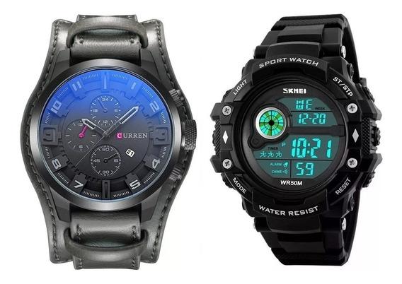 Relógio Masculino Curren 8225 Skmei Digital Aço Cromo