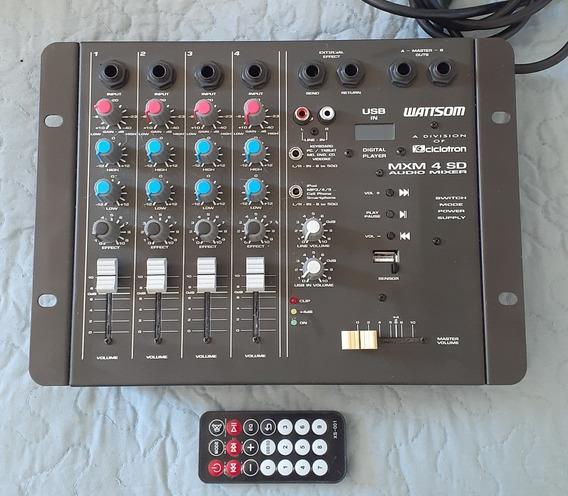 Mesa De Som Wattsom Mxm 4 Sd Áudio Mixer Com Controle