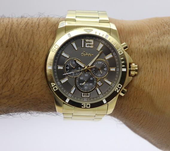 Relógio Condor Masculino Dourado Dual Time Covd33ac/4c