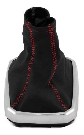 Coifa Guarda Pó Cambio Corsa Base Cromada Costura Vermelha