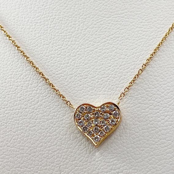 Collar Corazón En Oro Rosa De 18k Con Brillantes