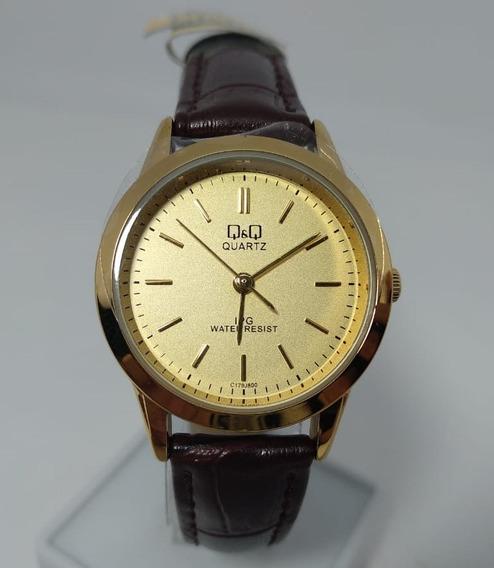 Relógio Q&q By Citizen Dourado Pulseira Em Couro C179j800y