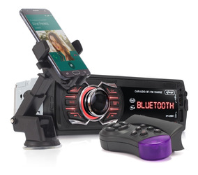 Kit Auto Radio Bluetooth Usb Som Mp3 Carro Suporte Veicular