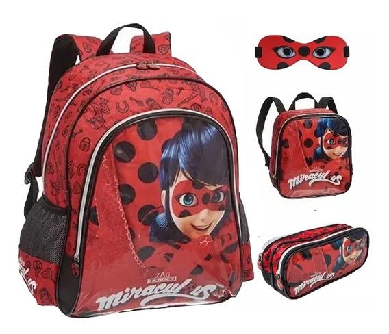 Kit Mochila Infantil Ladybug Original Tam G Costas + Brinde