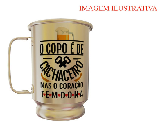 Caneca De Alumínio Personalizada Copo De Cachaceiro 600 Ml