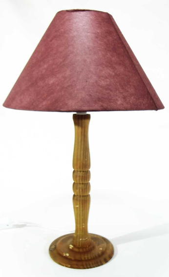 Abajur Luminária Tecidos Coloridos Base De Madeira Promoção