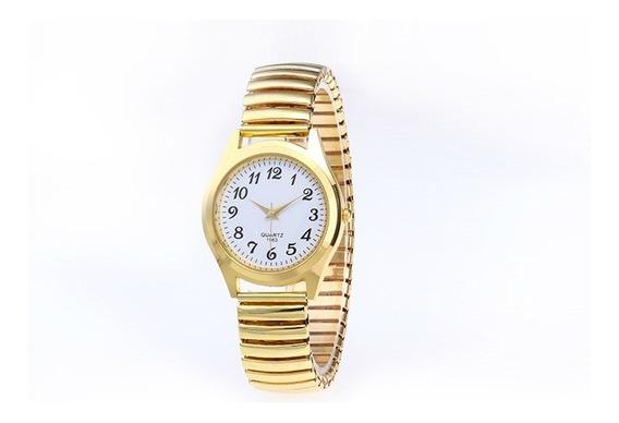 Relógio Feminino Pulso Quartzo Analógico Gold Pronta Entrega