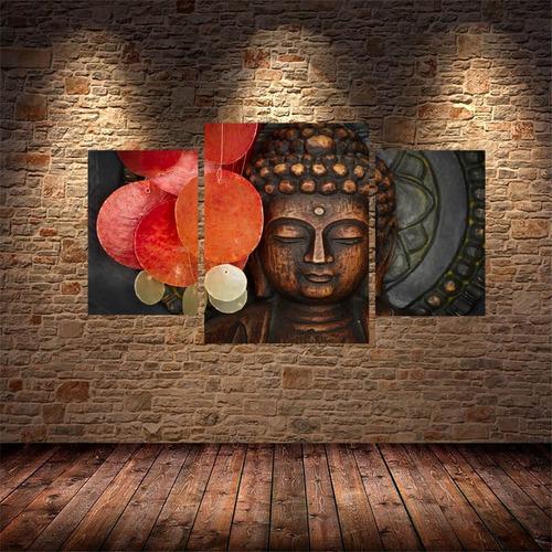 Mural Cuadro Triptico 70x40 Buda