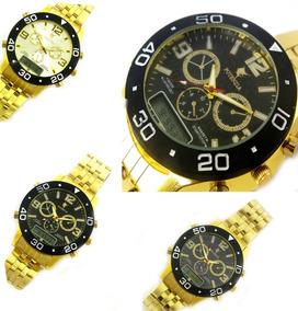 Relógio De Pulso Dourado Masculino Grande Imponente