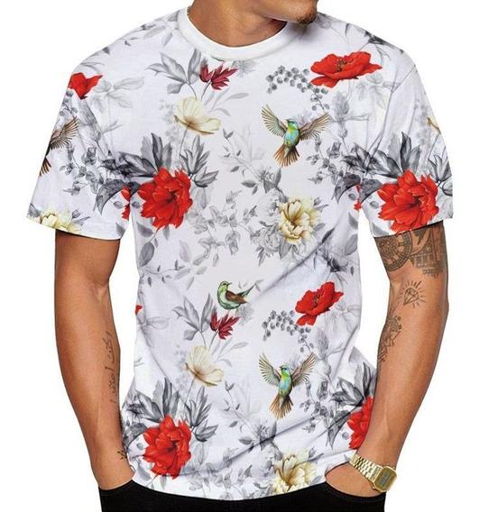 Camisa Camiseta Beija Flor Branca E Rosas Vermelhas Masculin