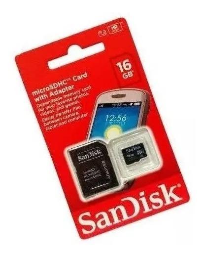 Cartão De Memória Sandisk 16gb Com Adaptador P/ Computador.