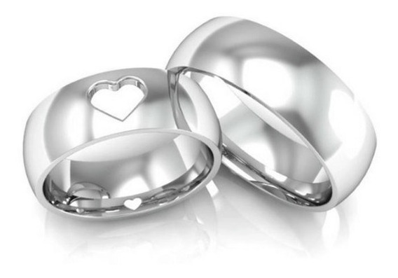 Aliança De Prata Coração 8mm