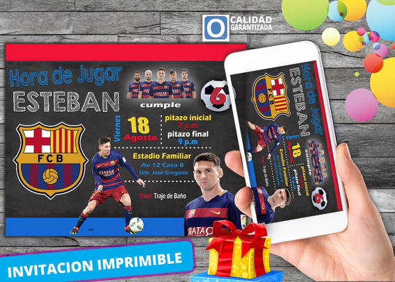 Invitación Digital Virtual De Cumpleaños De Messi Barcelona