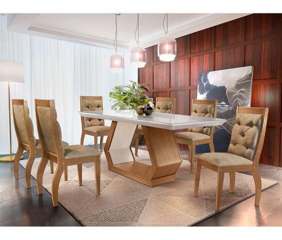 Conjunto De Mesa De Jantar Alvorada Com 6 Cadeiras Tamara...