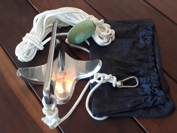 Kit Âncora 3kg Jet Ski E Caiaque Em Aço Inox Polido***