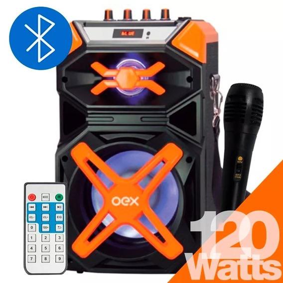 Caixa Som 120w Portátil Bluetooth Mp3 Usb Fm Controle Sk700