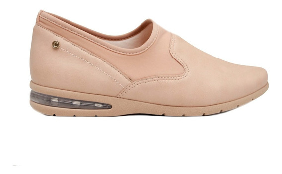 Zapatillas Mujer Cuero Ecológico Y Neoprene Nude Comfortflex