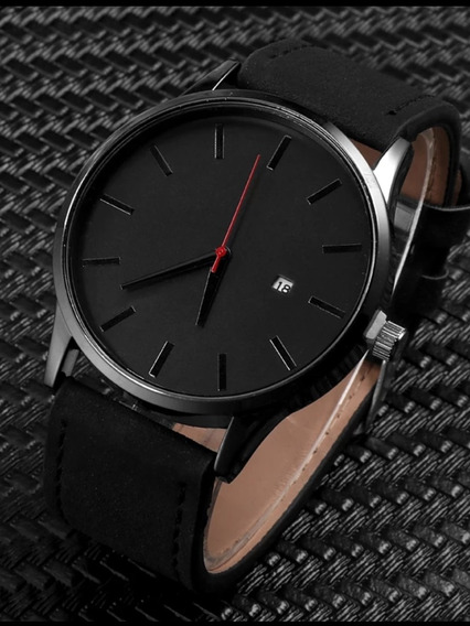 Relógio Casual Masculino Quartz Pulseira De Couro Preta