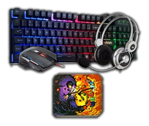 Kit Gamer Barato Teclado Mouse Headset + Mousepad Bônus Pc