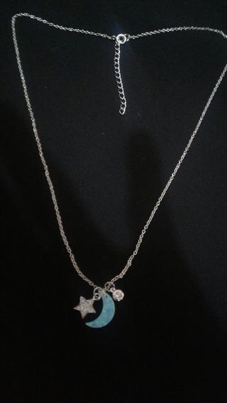Gargantilla Luna Opalo, Estrella Y Circulo Plata .925