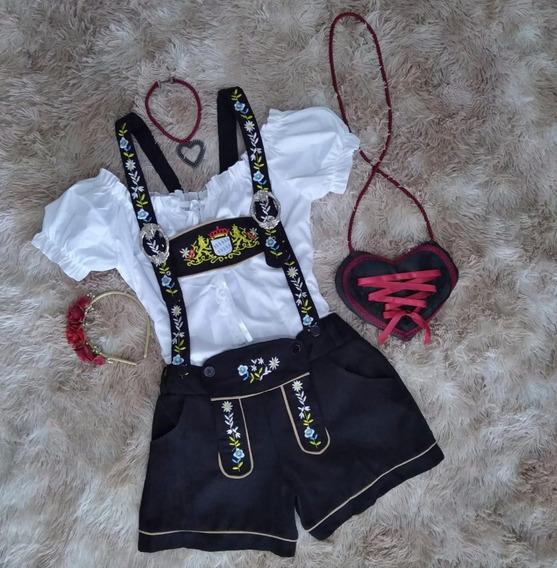 Traje Alemão Completo Calção+blusa+tiara+colar+bolsa