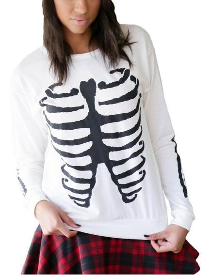 Sudadera Blanca Impresión Esqueleto Halloween Uso Diario