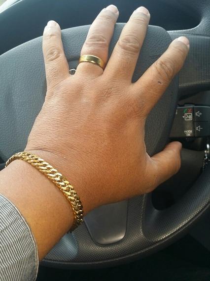 Pulseira Masculina Imponente Wilxtye 8mm Folheado A Ouro 18k