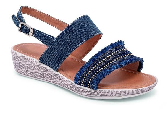 Sandalia Para Niña Color Azul Mezclilla Decoración Al Frente