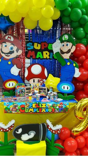 Kit Piñata Mario Bros Fiesta Cumpleaños+obsequio 12invitados
