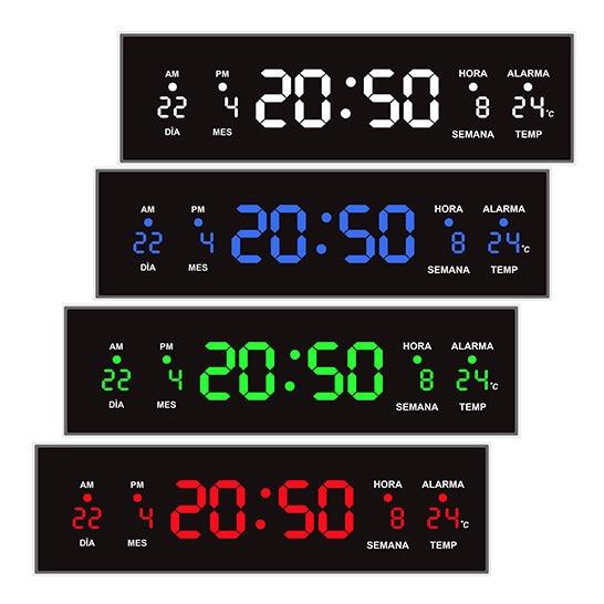 Reloj Digital De Pared Led Rojo Termómetro Alarma 32 Cm