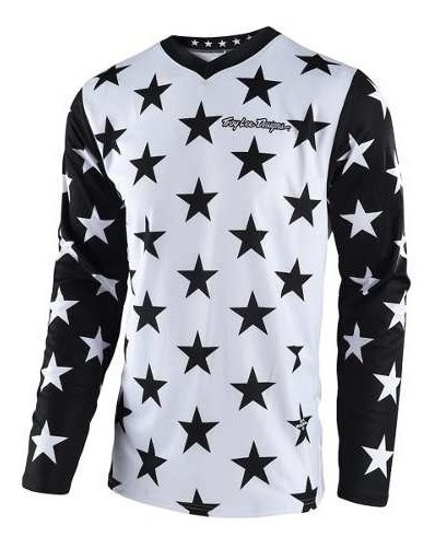 Remera Cross Troy Lee Gp Star Blanco/negro
