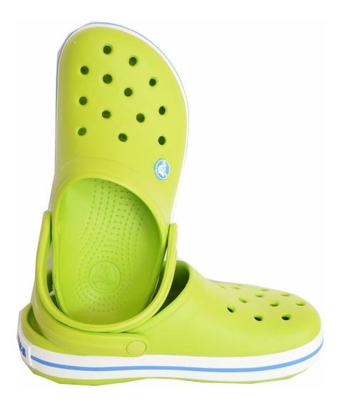 Crocs Crocband Volt Green Verde Tira Blanca Con Azul Unisex