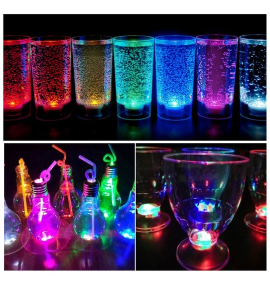 Combo Vaso Copa Y Lampara Drinky Led X50 Vasos Luminosos