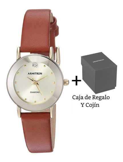 Armitron Original Reloj De Mano Mujer Diamante Genuino Piel