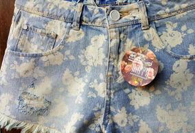Short Jeans Floral Rasgos Lindo Tenho Farm E Morena Rosa