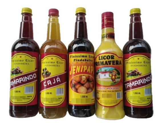 Kit 6 Licores Caseiros Da Bahia,jenipapo, Jabuticaba, Caja