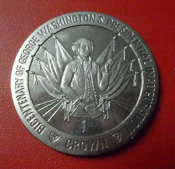 Isla De Man Bicentenario Presiden G. Washington 1 Crown 1989
