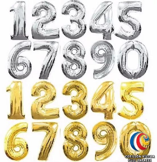 Globos Numero Metalizado En 80 Cms. Dorado Y Plateado