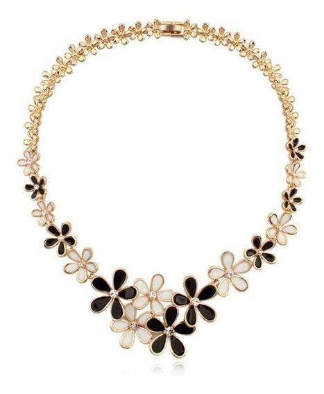 Collar Con Cristales Ocean Heart Oh15-163 Baño De Oro