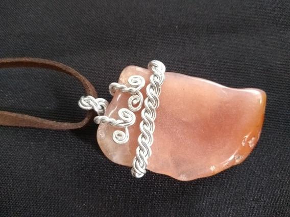 Colar Pedra Ágata Alumínio Trança Celta Cordão Regulagem